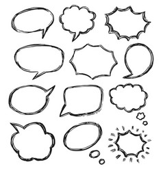 hand drawn doodle talk bubble sketch icon set vector image
