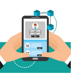 Hands holding smartphone virtual wallet login vector