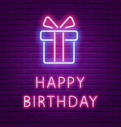 Happy birthday neon glowing text and gift box vector