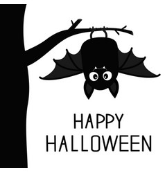 Happy halloween bat hanging on tree cute cartoon vector