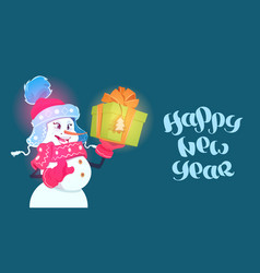 happy new year poster snowman girl hold gift box vector image
