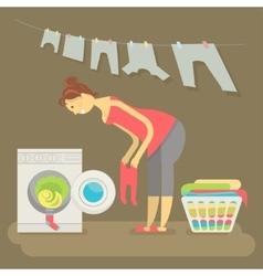 Housewife washes clothes vector