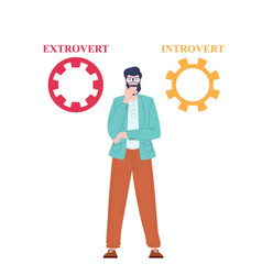 Introvert and extrovert concept vector