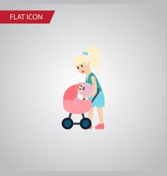 isolated perambulator flat icon mother vector image