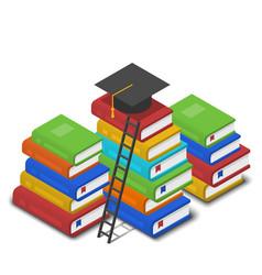 isometric heap books ladder near vector image