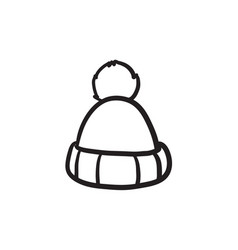 Knitted hat sketch icon vector