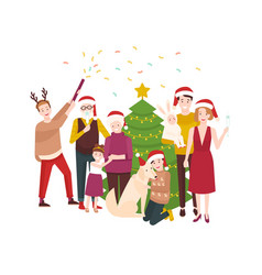 Large happy family celebrating christmas smiling vector