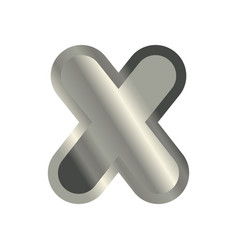 letter x steel font metal alphabet sign iron abc vector image