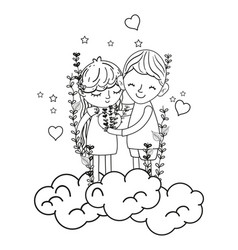 Line boy and girl in the clouds with branches and vector
