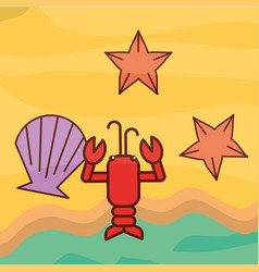 Lobster clam starfish beach sea life cartoon vector