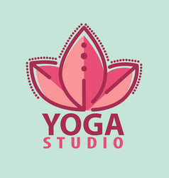 logo in a line style fitness room yoga vector image