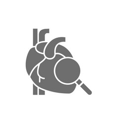 Loupe with heart heart check grey icon vector