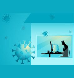 man working from home during coronavirus vector image