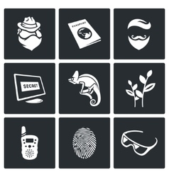 Masking of humans and animals icons set vector