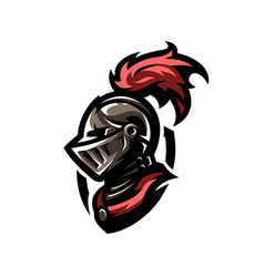 Medieval warrior knight in helmet vector