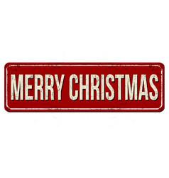merry christmas vintage rusty metal sign vector image