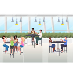 mix race people drinking beverages friends sitting vector image