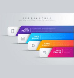 modern infographic with 4 colorful bars and icons vector image