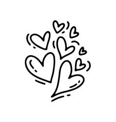Monoline cute different size hearts vector