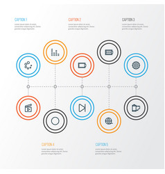 multimedia icons line style set with audio mixer vector image
