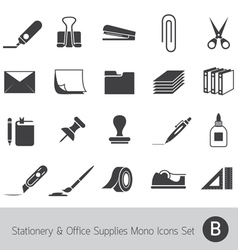 Office Supplies and Stationery Mono Icons Set vector