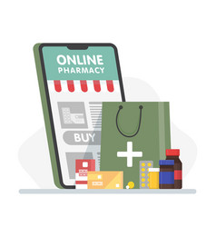Online pharmacy banner with smartphone paper bag vector