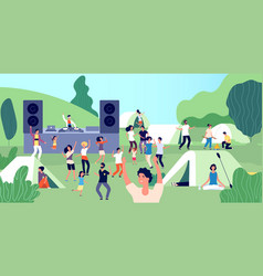 open air festival happy people with children vector image