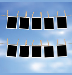 Photo frames on rope vector