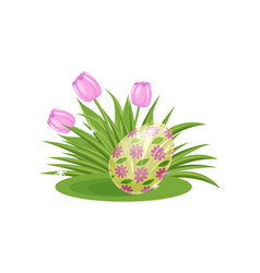 pink tulips and easter egg with floral ornament on vector image