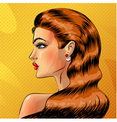 Pop art beautiful redheaded woman portrait vector