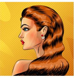 pop art beautiful redheaded woman portrait vector image