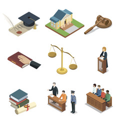 Public justice isometric 3d elements vector