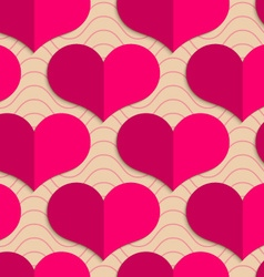Retro fold pink hearts on waves vector image