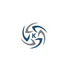 Rotation arrow process plan boomerang letter k vector