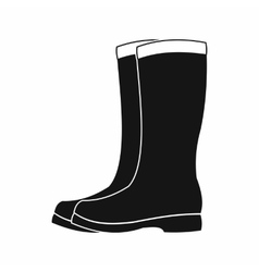 Rubber boots icon black simple style vector image