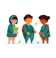 schoolchildren standing together - colorful flat vector image