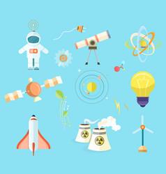 Science themed isolated cartoon set vector
