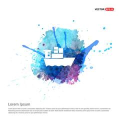 Sea ship icon - watercolor background vector