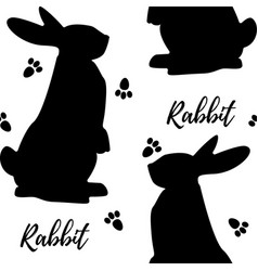 seamless monochrome pattern with rabbits vector image