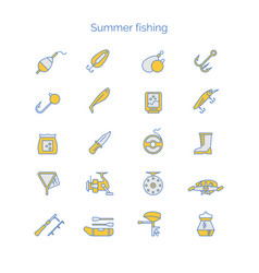 set colored icons for summer fishing vector image