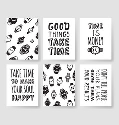 set of fashion cards hand drawn patterns hipster vector image