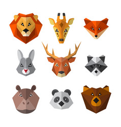 set wild animals in low poly style animal icon vector image