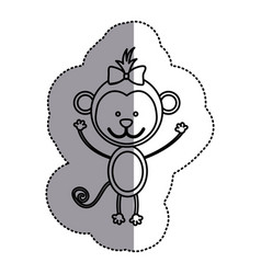 Silhouette teddy monkey bow head vector
