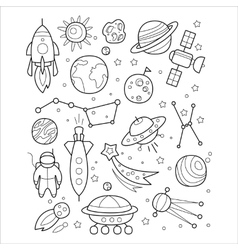 Space Objects in Handdrawn Style vector image