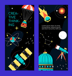 space theme - set modern vertical banners vector image
