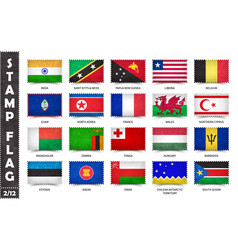 Stamp with official country flag set 2 12 vector