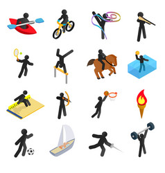 Summer sports isometric 3d icons set vector