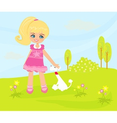 sweet girl and her puppy in the park vector image