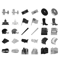 Usa country blackmonochrome icons in set vector