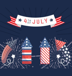 Usa fireworks with 4th july ribbon design vector